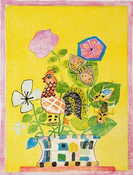 アイズピリ「黄色い背景の鳥と花束」