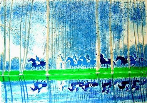ブラジリエ・版画(リトグラフ)・湖の反射