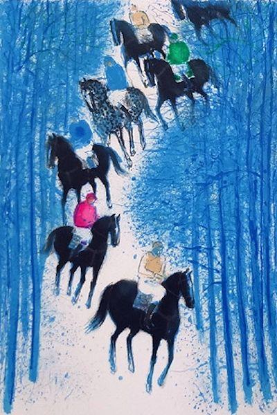 ブラジリエ・版画(リトグラフ)・雪の中の乗馬