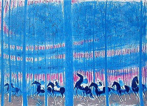 ブラジリエ・版画(リトグラフ)・夕焼けの騎馬