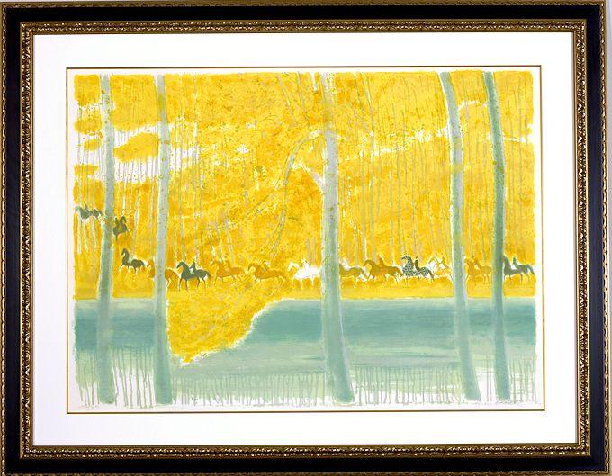 ブラジリエ・版画(リトグラフ)「池の端の騎馬行進」