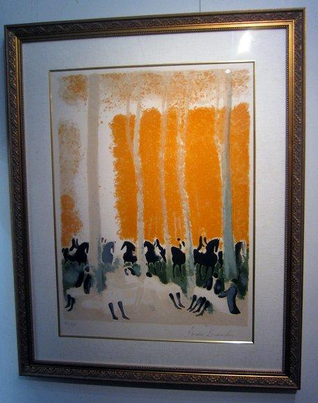 ブラジリエ・版画(リトグラフ)「 樹下の騎士たち」