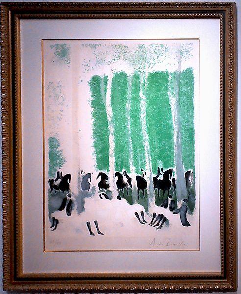 ブラジリエ・版画(リトグラフ)「 森の休息(緑)」