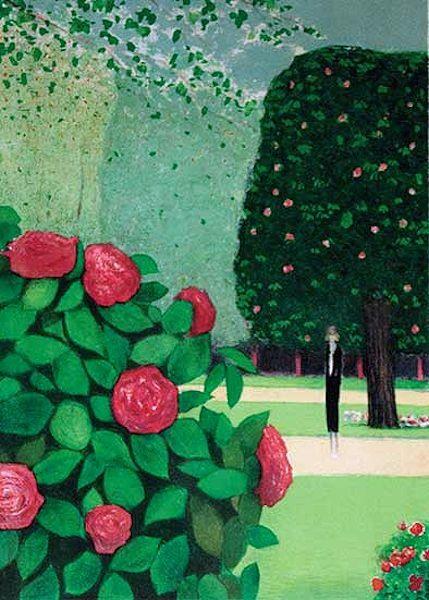 カシニョール・版画(リトグラフ)・薔薇の茂み