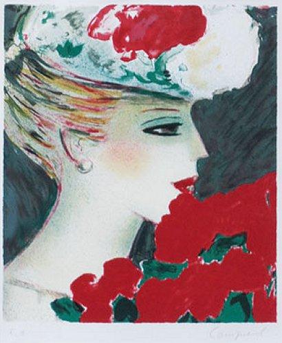 カシニョール『バラの花束とプロフィール』