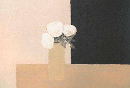 カトラン『黒とピンクの背景の白いバラ』