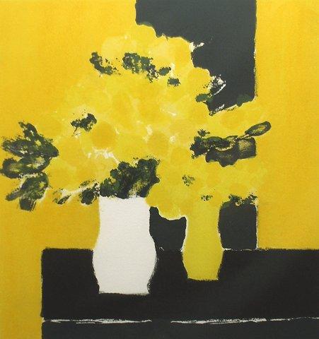 カトラン・版画(リトグラフ)・ミモザの花束