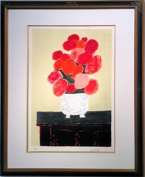 カトラン・版画(リトグラフ)『ゴシック調の花瓶のあじさいの花束』