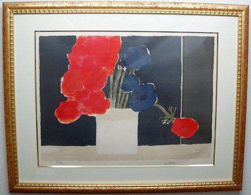カトラン・版画(リトグラフ)『黒い背景の赤いバラ』