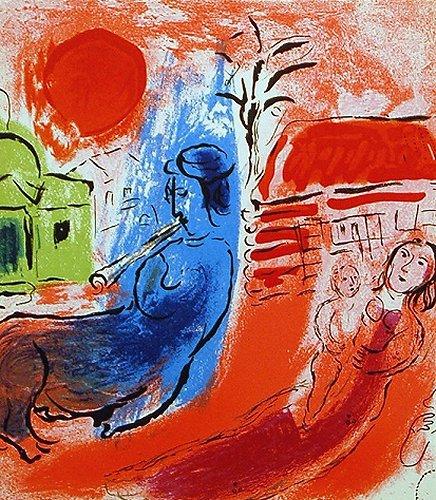 シャガール・版画(リトグラフ)・ジャック・ラセーニュより「ケンタウロスと母と子」