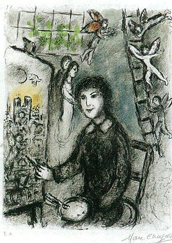 マルク・シャガール『絵の前の画家 M932』