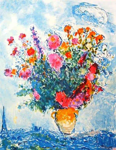 シャガール 『エッフェル塔と花束』