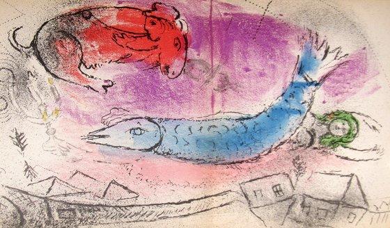 マルク・シャガール『ジャック・ラセーニュ・青い魚』