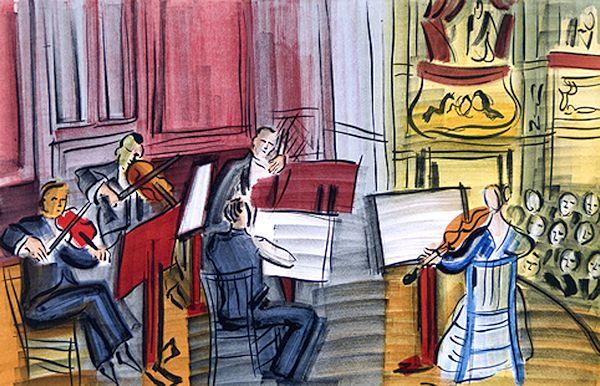 デュフィ・版画(木版画)・天使のコンサートより五重奏
