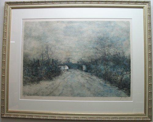 ガントナー・リトグラフ「冬の田舎道」