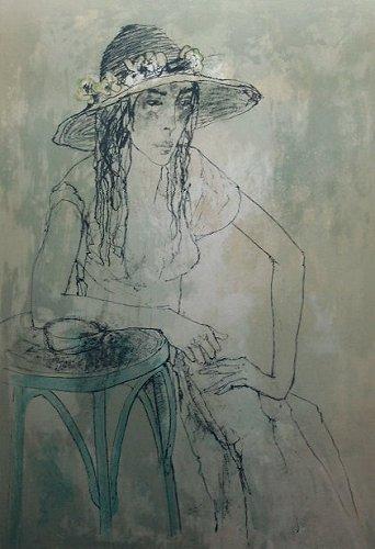 ジャンセン・版画(リトグラフ)・帽子を被る婦人