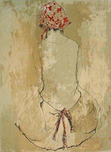 ジャンセン・版画(リトグラフ)・赤い三角布