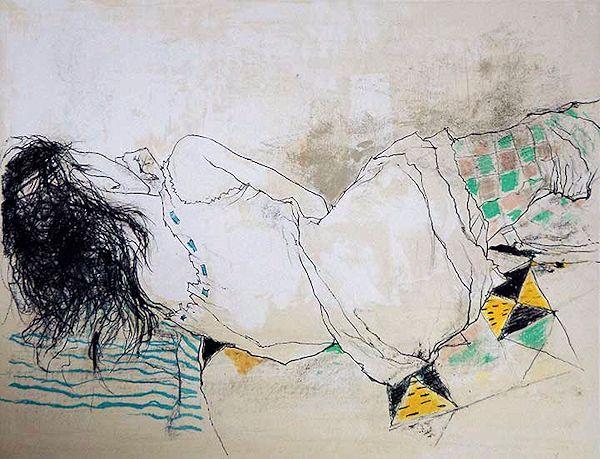 ジャンセン・版画(リトグラフ)・市松模様のタイツのステファニー