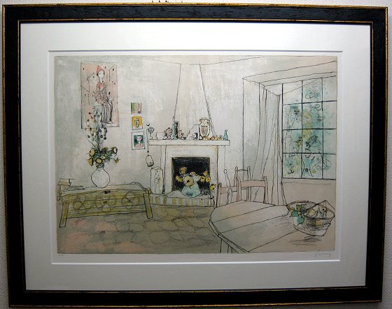 ジャンセン・版画(リトグラフ)「アトリエの暖炉」