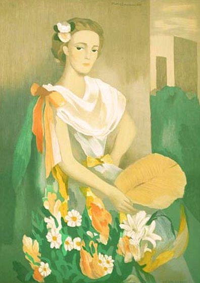 ローランサン・版画(リトグラフ)・シャルリ・デルマス夫人の肖像