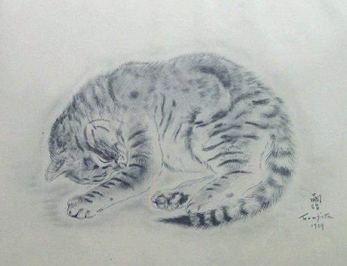 藤田嗣治 ・ 版画(コロタイプ)・猫の本 「パシテア」