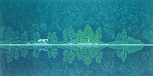 東山魁夷・版画(リトグラフ)・緑の詩