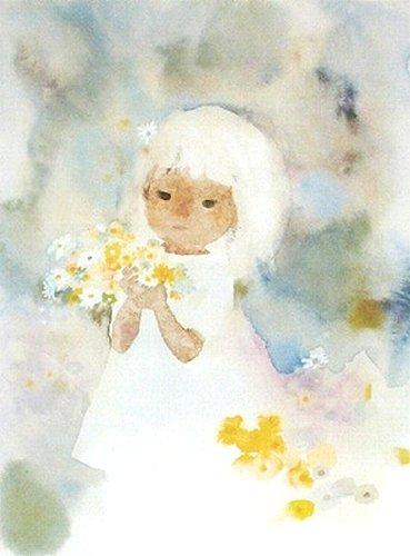 いわさきちひろ・版画(リトグラフ)・花を持つワンピースの少女