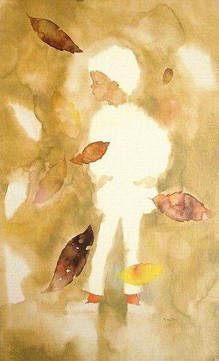 いわさきちひろ『枯れ葉の中の少年』
