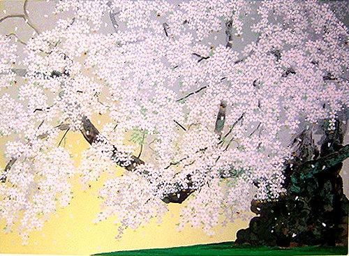 中島千波・版画(シルクスクリーン)・山高神代桜