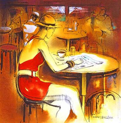 立松脩 「パリのカフェテラス」