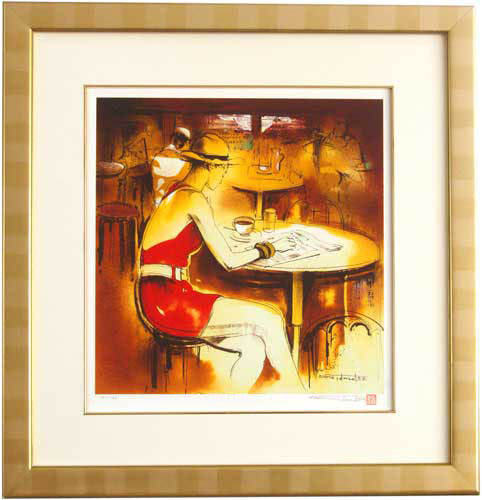 立松脩・「パリのカフェテラス」